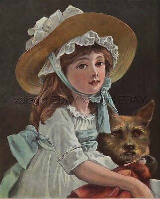DOG Cairn Terrier Dog with Pretty Girl, Large 1880s Antique Color Print