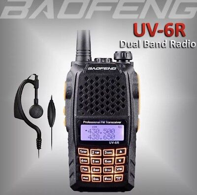 W6 2018 BAOFENG UV-6R Dual Band UHF/VHF Ham Radio 136-174/400-520Mhz Walkie Talk