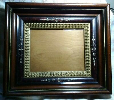 Antique 3 Part Etched with Unique Gold Inner, Shadow Box Eastlake Picture Frame