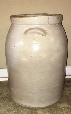 Vintage Antique 5 Gallon Stoneware Butter Churn With Lid