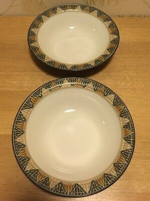 "Denby - Boston Spa - PAIR 7 1/4"" 18.5cm Soup / Cereal Bowls Very Good Condition"