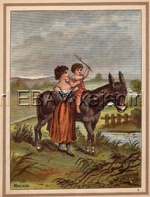 DONKEY Mother Helps Toddler Ride, Antique 1880s Print