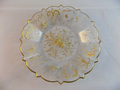 "ANTIQUE BACCARAT Gold accent DISH 8 1/4"" glass dish w/ gold leaf floral pattern"
