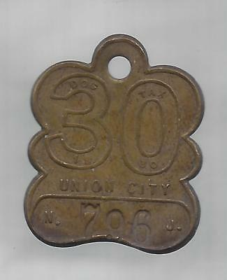 Union City NJ dog license tax tag,  1930 brass numeral