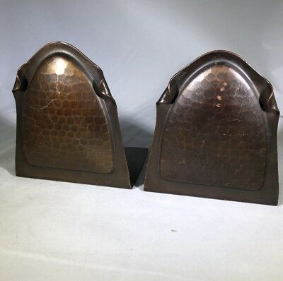 Arts & Crafts ANTIQUE PAIR ROYCROFT  Arched Copper Bookends Signed