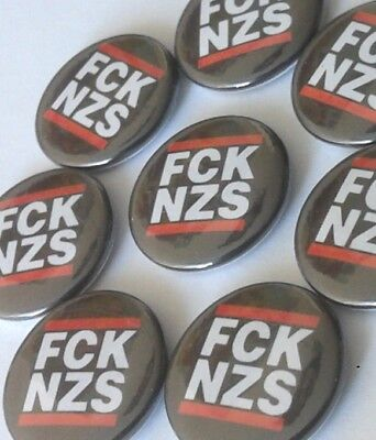 1x FCK NZS Button Gegen Nazis Antifa Anti Nazi Punk SHARP RASH 161 ARA Oi AFA