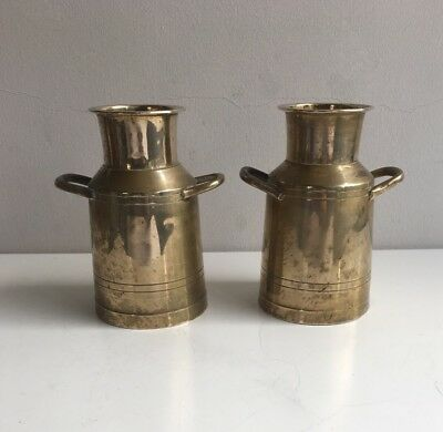 A Pair of Small Vintage Brass Milk Churns - Decorative Kitchenalia