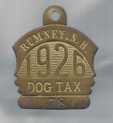 "Rumney, N.H. dog license tax tag,  1926 brass ""numeral"""