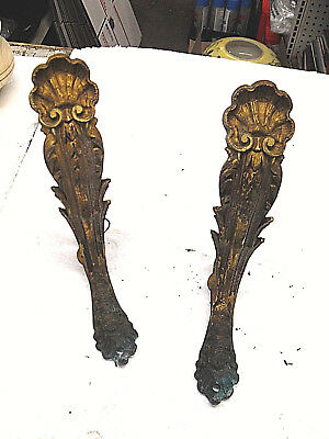 2 Vintage  French Brass Ornate CORBELL OR SMALL SHELF RACK