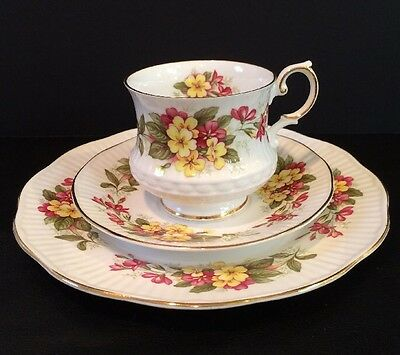 VTG 3PC Queens Fine Bone China By Rosina China Co. Wild Flowers Pattern England