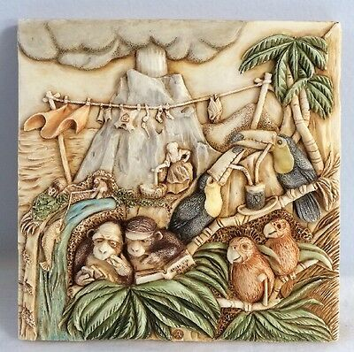 NIB Harmony Kingdom Picturesque Tile Figurine Noah's Park Krakatoa Lounge #PXNB2