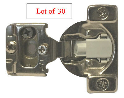 "30 Soft Close 1/2"" Overlay 3 Way Adjustment Face Frame Nickel Cabinet Hinges"