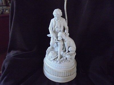"""Victorian Parian Ware Statue Lamp Young Man Dog 24"""" Lamp 16"""" Statue"""
