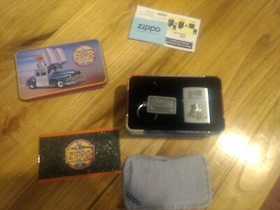 Zippo w/ car emblem Windproof Lighter with Key Chain in collector tin never lit.