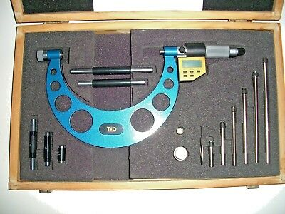 """T&O 0-6"""" .00005 Electronic Outside Micrometer Set w/Interchangeable Anvils & Cas"""