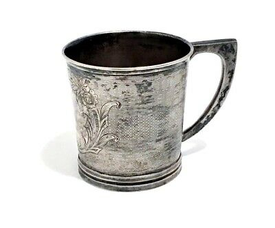 Antique Etched Engraved Sterling Silver Baby Mug Old Christening Cup Marked COIN