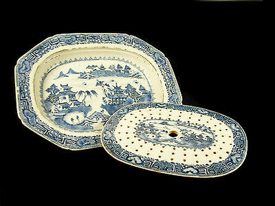 large dish octagonal with his / her drip tray blue/white China 18TH wide