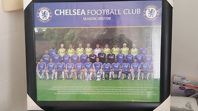 "Chelsea FC Official Team Photograph Framed Glass Vintage 2007-08 56x46cm 22""×18"""