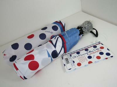 new brighton IT'S RAINING POLKA DOTS compact umbrella NWT with matching sleeve