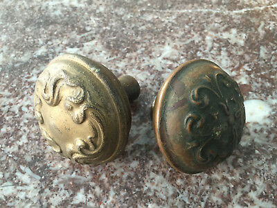 Vintage BRASS BRONZE Cast Iron Door Knobs 2pcs ART NOUVEAU waves ornate ANTIQUE
