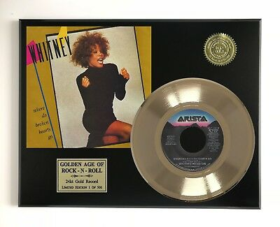 "Whitney Houston - Where Do Broken Hearts Go LTD EDITION GOLD 45 DISPLAY ""M4"""