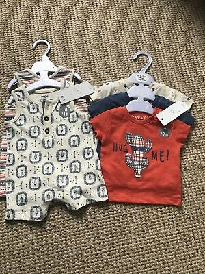 NWT F&F Tesco Rompers And T Shirts 0-3 Months New Boys