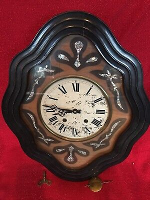 Antique French Napoleon III Clock Mother Of Pearl Rare Double Strike Running