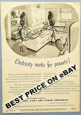 Electricity Works for Peanuts!        1946 Ad Page       Electric Light & Power