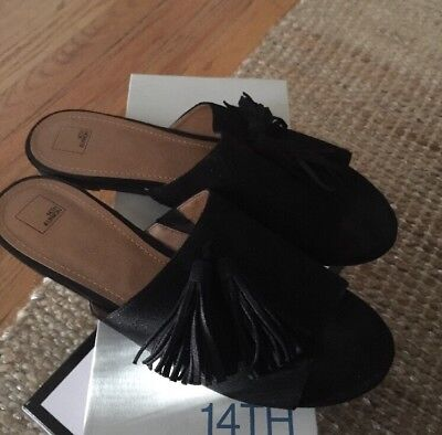 342200f28d1d Womens 14TH   UNION Black Faux Suede Tassel Slide Size 9.5 Sandals 🍭 Nice