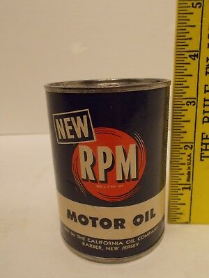 Vintage RPM Cardboard Motor Oil Can Coin Bank