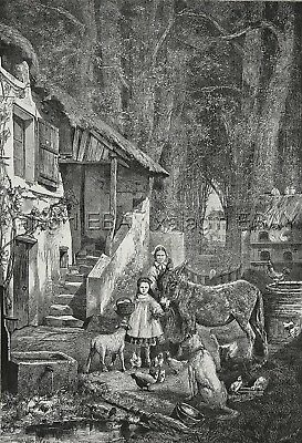 Donkey, Sheep, Chickens & Farmer, Happy Family, Large 1870s Antique Print