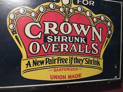 Vintage 1940s CROWN Shrunk OVERALLS ADVERTISING SIGN / Wall Ad