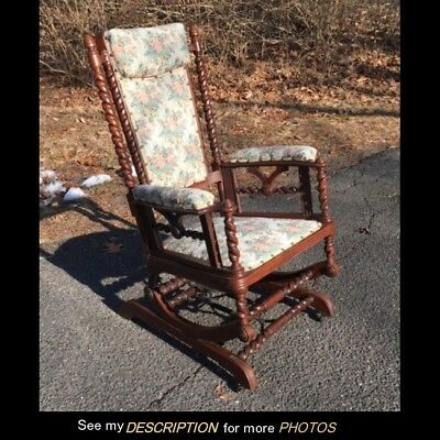 1880s Victorian OAK Hunzinger Platform ROCKER Rocking Chair