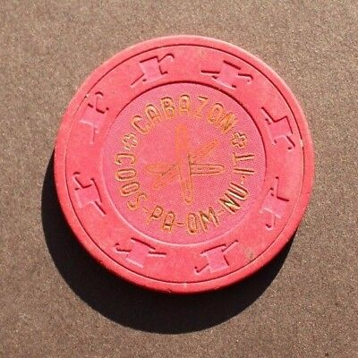 Vtg Poker / Casino Clay Chip - CABAZON COOS - PA -OM - NU - IT Indo, CA ($.25)