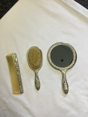 Antique Victorian Style Silver Plated Vanity Brush Mirror Comb Heavy Set