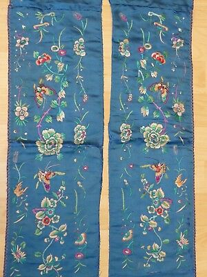 Stunning pair of Antique Chinese embroidered embroidery teal silk sleeve panels
