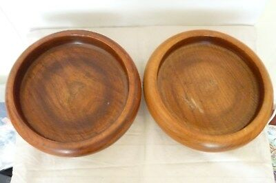 Vintage/Antique Pair Turned Oak Wooden Pedestal Bowls.