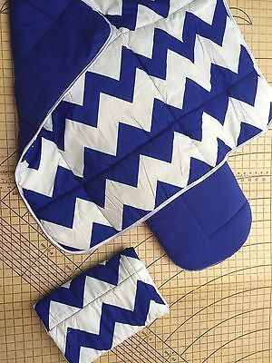 Bugaboo Cameleon carrycot Reversible Quilted sheets x2 & Blanket Blue Chevron