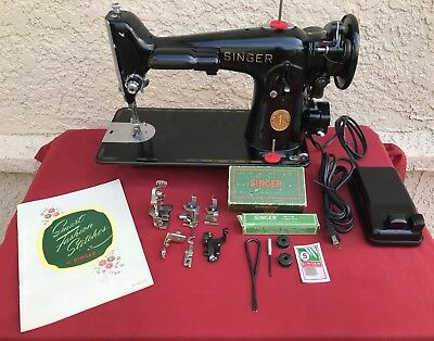1940s SINGER 201-2  HEAVY DUTY Sewing Machine Fully Restored & Serviced w/extras