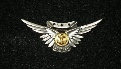 ORIGINAL WWII US Navy Aircrew Wing  - Sterling 1/20 10K GF, PB