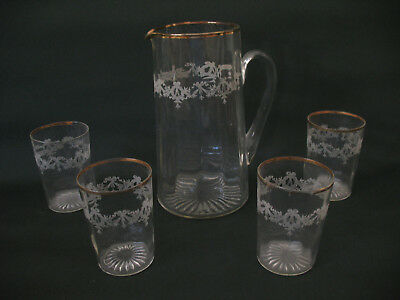 Antique EAPG Glass Pitcher Juice Glass Set Gold Trim Victorian Wreath Pattern