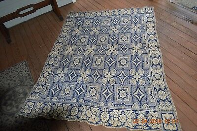 Rare 1840  Blue White Coverlet* Primitive Antique Country Woven Textile American