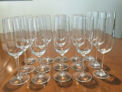 Set 12 Champagne Glasses/Flutes 20cm tall + 3 x  21cm tall. Excellent condition