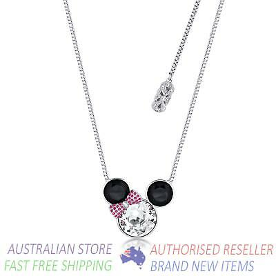Disney Couture Minnie Mouse Bow Crystal Necklace White Gold