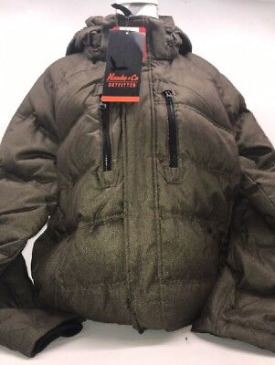 Hawke & Co. Men's Down Jacket Coat w/ Removable Hood Medium Olive Heather