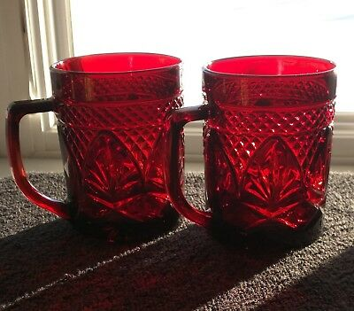 """2 Cris D'Arques Durand ANTIQUE RUBY RED Coffee Beverage Mugs Set Of Two 3-7/8"""""""