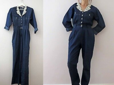 Vintage 80s Denim Romper Play Suit Small Buy 3 + items for FREE Post