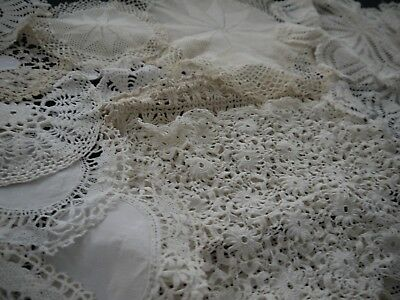 Vintage Lot 28 Pieces of Doilies Crochet Hand Made Lace tablecloth Craft Linen