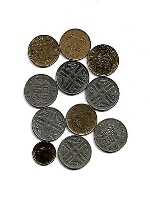 Colombia: Mixed Lot of 11 Colombian Coins from 1993-2010