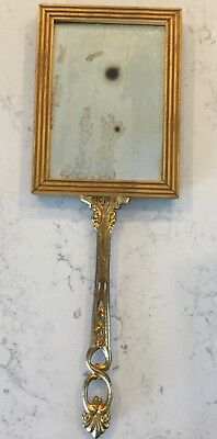 "Antique Vintage Look Picture Frame Hand Mirror Metal Handle 17 3/4"" x 6 1/8"""